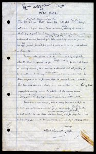 Early handwritten draft of the 'author's note' from War Horse (Kaye & Ward, 1982) by Michael Morpurgo. © Michael Morpurgo, c. 1981.