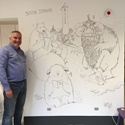 Check out Chris Riddell's hand drawn art on our studio wall!