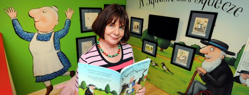 Julia Donaldson in our A Squash and a Squeeze – Sharing Stories with Julia Donaldson exhibition, 2012.